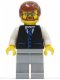 Minifig No: twn048  Name: Black Vest with Blue Striped Tie, Light Bluish Gray Legs, White Arms, Reddish Brown Male Hair, Beard and Glasses