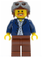 Minifig No: twn050  Name: Dark Blue Jacket, Light Blue Shirt, Reddish Brown Legs, Aviator Cap and Goggles
