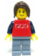 Minifig No: twn051  Name: Red Shirt with 3 Silver Logos, Dark Blue Arms, Sand Blue Legs, Dark Brown Hair Ponytail Long with Side Bangs