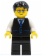 Minifig No: twn052  Name: Black Vest with Blue Striped Tie, Black Legs, White Arms, Black Short Tousled Hair, Glasses