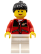 Minifig No: twn056  Name: Red Jacket with Zipper Pockets and Classic Space Logo, White Legs, Black Female Ponytail Hair, Brown Eyebrows