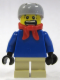 Minifig No: twn058  Name: Plain Blue Torso with Blue Arms, Tan Short Legs, Light Bluish Gray Helmet, Bandana