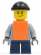 Minifig No: twn059  Name: Plain Light Bluish Gray Torso, Dark Blue Short Legs, Knit Cap, Orange Vest