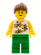 Minifig No: twn064  Name: Yellow Flowers - Reddish Brown Ponytail Hair, Green Legs