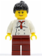 Minifig No: twn066  Name: Chef - White Torso with 8 Buttons, Dark Red Legs, Black Ponytail Hair
