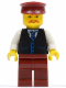 Minifig No: twn068  Name: Black Vest with Blue Striped Tie, Dark Red Legs, White Arms, Dark Red Hat, Moustache