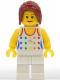 Minifig No: twn078  Name: Shirt with Female Rainbow Stars Pattern, White Legs, Dark Red Hair Ponytail Long with Side Bangs