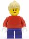 Minifig No: twn090  Name: Plain Red Torso with Red Arms, Dark Purple Short Legs, Tan Female Ponytail Hair, Brown Eyebrows