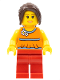 Minifig No: twn098  Name: Orange Halter Top with Medium Blue Trim and Flowers Pattern, Red Legs, Dark Brown Hair Ponytail Long with Side Bangs