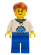 Minifig No: twn099  Name: White Hoodie with Blue Pockets, Blue Legs, Dark Orange Short Tousled Hair