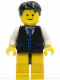 Minifig No: twn104  Name: Black Vest with Blue Striped Tie, Black Hips and Yellow Legs, Black Short Tousled Hair