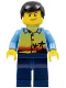 Minifig No: twn107  Name: Sunset and Palm Trees - Dark Blue Legs, Black Male Hair, Crooked Smile