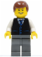 Minifig No: twn108  Name: Black Vest with Blue Striped Tie, Dark Bluish Gray Legs, White Arms, Reddish Brown Male Hair