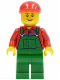 Minifig No: twn115  Name: Overalls Farmer Green, Red Short Bill Cap