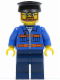 Minifig No: twn124  Name: Blue Jacket with Pockets and Orange Stripes, Dark Blue Legs, Black Hat