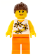 Minifig No: twn126  Name: Yellow Flowers - Reddish Brown Ponytail Hair, Orange Legs
