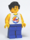 Minifig No: twn127  Name: Surfboard on Ocean - Blue Legs, Black Male Hair Wavy