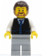 Minifig No: twn135  Name: Black Vest with Blue Striped Tie, Light Bluish Gray Legs, White Arms, Dark Brown Hair, Brown Beard Rounded
