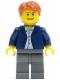 Minifig No: twn136  Name: Dark Blue Jacket, Light Blue Shirt, Dark Bluish Gray Legs, Dark Orange Male Hair