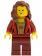 Minifig No: twn137  Name: Female Corset with Gold Panel Front and Lace Up Back Pattern, Dark Red Legs, Reddish Brown Female Hair over Shoulder