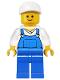 Minifig No: twn138  Name: Overalls Blue over V-Neck Shirt, Blue Legs, White Short Bill Cap