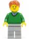 Minifig No: twn140  Name: Green V-Neck Sweater, Light Bluish Gray Legs, Dark Orange Short Tousled Hair