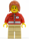 Minifig No: twn146  Name: Post Office White Envelope and Stripe, Tan Legs, Dark Orange Ponytail Long with Side Bangs