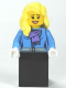 Minifig No: twn147  Name: Medium Blue Jacket with Light Purple Scarf, Black Skirt, Bright Light Yellow Female Hair over Shoulder