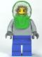 Minifig No: twn149  Name: Plain Light Bluish Gray Torso, Blue Legs, Bright Green Hood