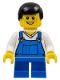 Minifig No: twn151  Name: Overalls Blue over V-Neck Shirt, Blue Short Legs, Black Male Hair