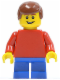 Minifig No: twn152  Name: Plain Red Torso with Red Arms, Blue Short Legs, Reddish Brown Male Hair