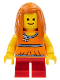 Minifig No: twn161  Name: Child, Girl, Orange Torso Halter Top with Medium Blue Trim and Flowers Pattern, Short Legs