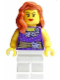 Minifig No: twn171  Name: Female Dark Purple Blouse with Gold Sash and Flowers, White Legs, Red Lips