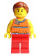 Minifig No: twn172  Name: Orange Halter Top with Medium Blue Trim and Flowers Pattern, Red Legs, Reddish Brown Ponytail and Swept Sideways Fringe