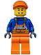 Minifig No: twn174  Name: Overalls with Safety Stripe Orange, Orange Legs, Orange Short Bill Cap, Thin Grin with Teeth