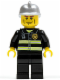 Minifig No: twn175  Name: Fire - Reflective Stripes, Black Legs, Silver Fire Helmet, Cheek Lines, Yellow Hands