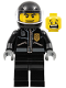 Minifig No: twn182  Name: Police - City Leather Jacket with Gold Badge, Black Helmet, Trans-Clear Visor