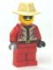 Minifig No: twn183  Name: Red Jacket with Tan and White Zigzag Pattern, Red Legs, Tan Fedora, Black and Silver Sunglasses