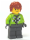 Minifig No: twn184  Name: Lime Jacket with Wrench and Black and White Checkered Pattern, Dark Bluish Gray Legs, Dark Orange Hair, Crooked Smile