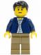 Minifig No: twn186  Name: Dark Blue Jacket, Light Blue Shirt, Dark Tan Legs, Black Male Hair