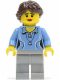 Minifig No: twn188  Name: Medium Blue Female Shirt with Two Buttons and Shell Pendant, Light Bluish Gray Legs, Dark Brown Ponytail Long French Braided