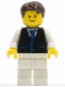 Minifig No: twn190  Name: Black Vest with Blue Striped Tie, White Legs, Dark Brown Short Tousled Hair