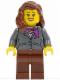 Minifig No: twn196  Name: Dark Bluish Gray Jacket with Magenta Scarf, Reddish Brown Legs, Reddish Brown Female Hair over Shoulder