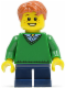 Minifig No: twn197  Name: Boy, Green V-Neck Sweater, Dark Blue Short Legs