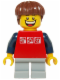 Minifig No: twn205  Name: Red Shirt with 3 Silver Logos, Dark Blue Arms, Light Bluish Gray Short Legs, Reddish Brown Hair