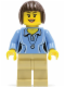 Minifig No: twn207  Name: Medium Blue Female Shirt with Two Buttons and Shell Pendant, Tan Legs, Dark Brown Bob Cut Hair