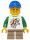 Minifig No: twn208  Name: Classic Space Minifigure Floating Pattern, Short Dark Tan Legs, Blue Short Bill Cap