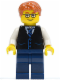 Minifig No: twn211  Name: Black Vest with Blue Striped Tie, Dark Blue Legs, White Arms, Dark Orange Short Tousled Hair, Rectangular Glasses