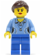 Minifig No: twn213  Name: Medium Blue Female Shirt with Two Buttons and Shell Pendant, Blue Legs, Dark Brown Ponytail and Swept Sideways Fringe