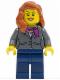 Minifig No: twn217  Name: Dark Bluish Gray Jacket with Magenta Scarf, Dark Blue Legs, Dark Orange Female Hair over Shoulder